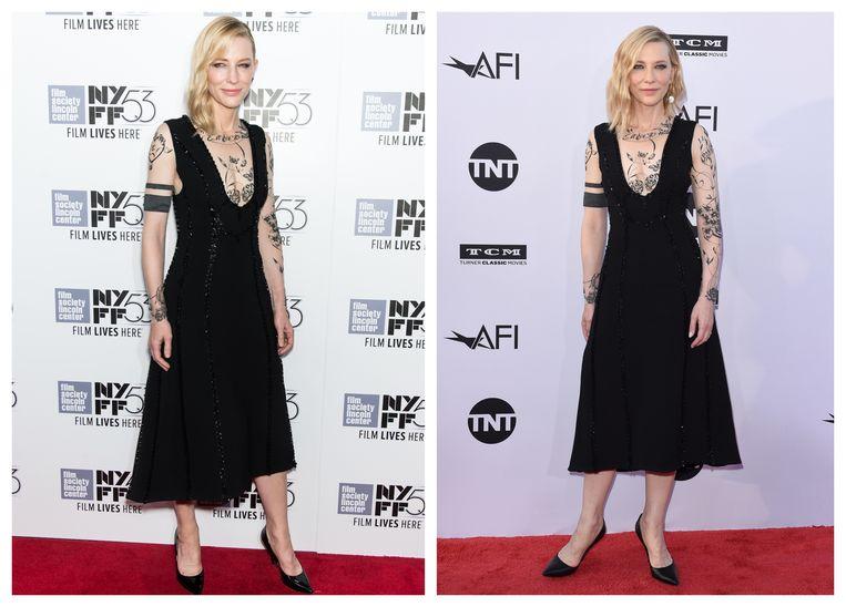 Cate Blanchett in 2015 (links) en 2018 (rechts).