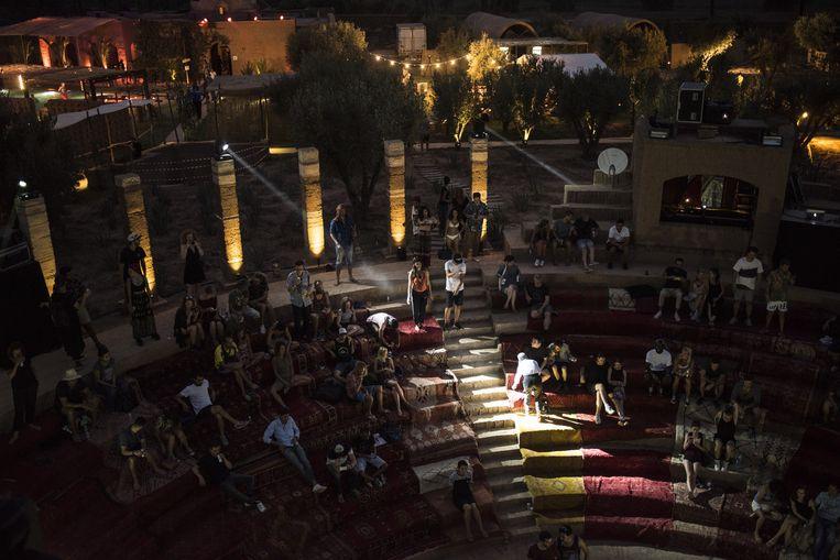 Het amfitheater van Villa Janna in de Palmeraie, nabij Marrakech, waar Atlas Electronic plaatsvond. Beeld null