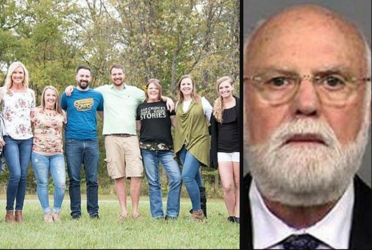 Links: zeven kinderen van Donald Cline die verwekt werden via kunstmatige inseminatie. Rechts: Donald Cline zelf.