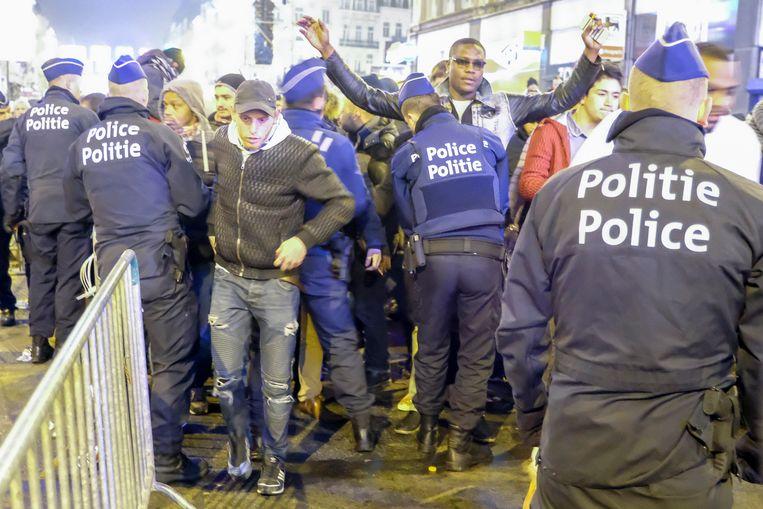 Nieuwjaar Brussel: controle op de Anspachlaan.