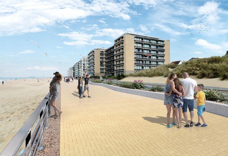 Een toekomstbeeld van de zeedijk, met nieuwe kleiklinkers.