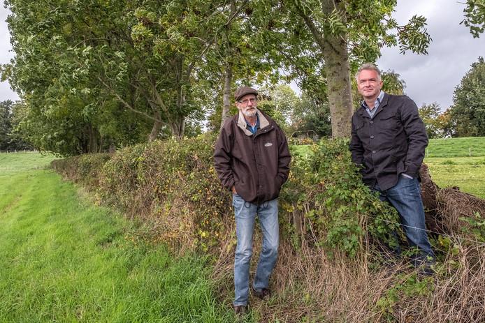 Jef Gielen (links) en Sjoerd Aertssen bij een van de heggen die zij onderzochten. Deze is te vinden bij Heumen.