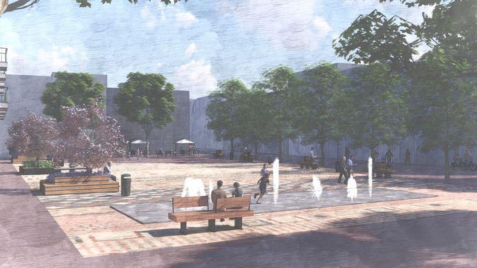 De fonteintjes, bedriegertjes, op het nieuwe Raadhuisplein.