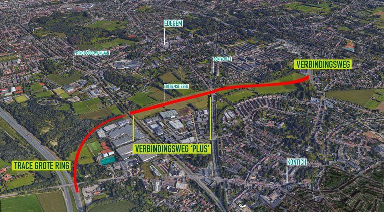 De rode lijn stelt de potentiële verbindingswegen op de grens tussen Edegem en Kontich voor.
