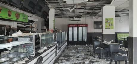 Wateroverlast bij afgebrand pand Asya Bakkerij in Waalwijk