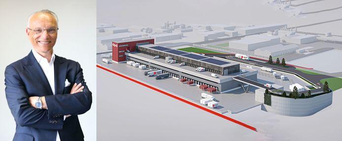 DPD bouwt hub naast R0 in Vilvoorde  links: Silvio Mestdagh, rechts: illustratiebeeld van de toekomstige hub.