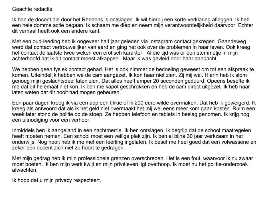 De brief van de ontslagen docent, gericht aan dagblad De Gelderlander.