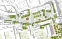 Ontwerp voor het nieuwe Stadskwartier. De Cityring loopt er niet meer doorheen, maar het is 'shared space'. Het paleis heeft weer een tuin met water, er is plaats voor mee groen.