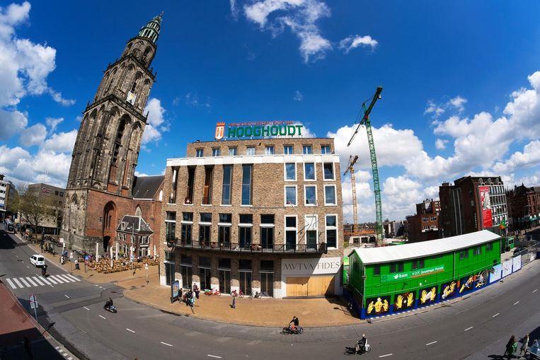Het gloednieuwe pand van Vindicat aan de grote markt in Groningen. Beeld HH