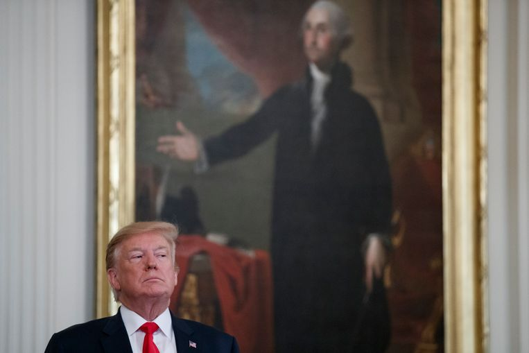 President Trump in de East Room van het Witte Huis, 18 april 2019. Beeld null