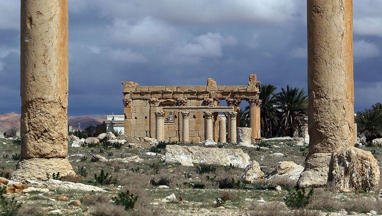 Een deel van de tempel van Baal Shamin. Beeld AFP