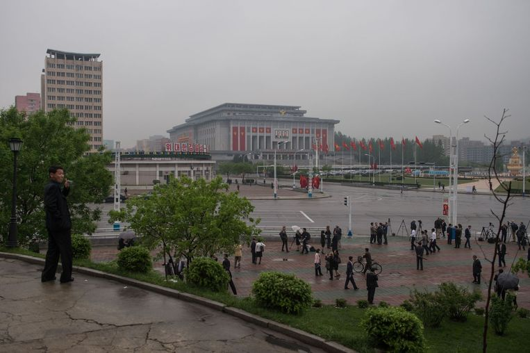 Journalisten verzamelen zich in Pyongyang om verslag te doen van het partijcongres. Beeld afp