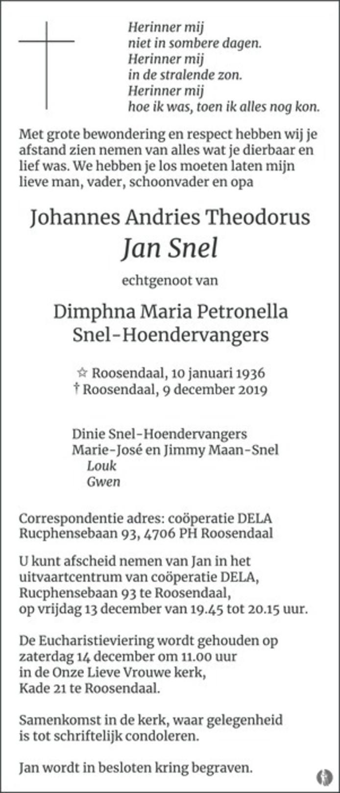Overlijdensadvertentie Jan Snel.