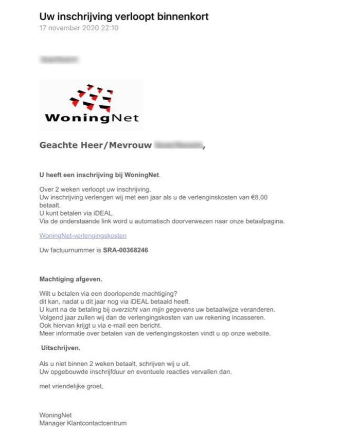 De phishingmail van 'Woningnet' waarvoor de Woningzoeker waarschuwt.