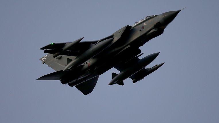 Een Tornado-gevechtsvliegtuig van de Britse luchtmacht komt donderdag aan op de Britse basis op Cyprus. Beeld getty