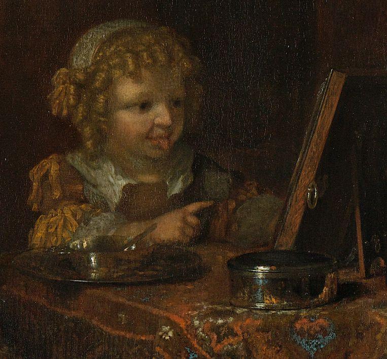 Detail uit 'Moederzorg' (interieur met een moeder die het haar van haar kind kamt) van Caspar Netscher. Beeld Collectie Rijksmuseum Amsterdam