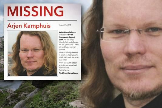 Het opsporingsbericht voor Arjen Kamphuis die vermist wordt in Noorwegen.
