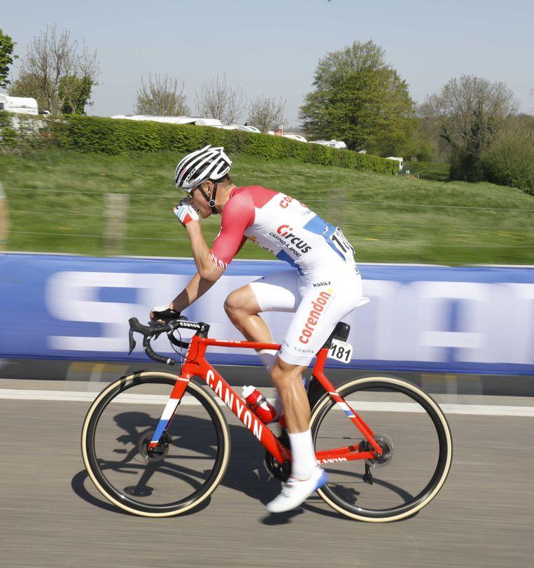 Mathieu van der Poel tijdens de Amstel Gold Race 2019. Beeld ANP