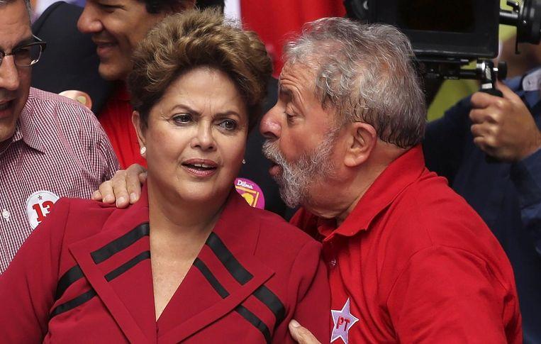De afgezette presidente Dilma Rousseff en oud-president Luiz Inacio Lula da Silva tijdens een campagne in 2014. Beeld null