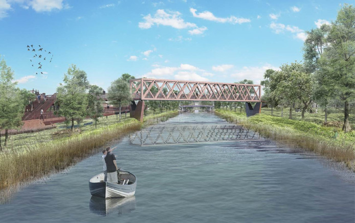 Een artists impression van de beoogde langzaamverkeersbrug over het Wilhelminakanaal in Oirschot, tussen de wijk Moorland en het centrum.
