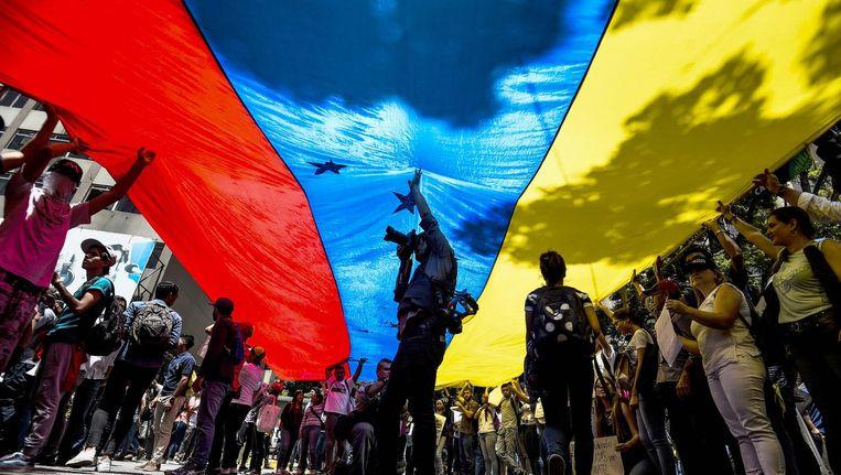 Protesten in Caracas. Beeld ANP