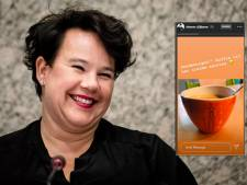 Sharon Dijksma drinkt alvast een echt Utrechts kopje koffie