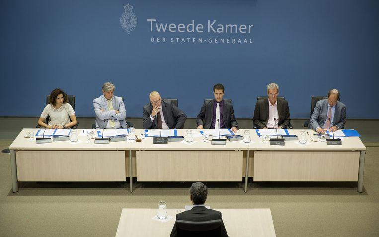 Kees Wevers, oud-directeur Financien en Control bij Vestia, verschijnt voor de Parlementaire Enquetecommissie Woningsorporaties. Beeld anp