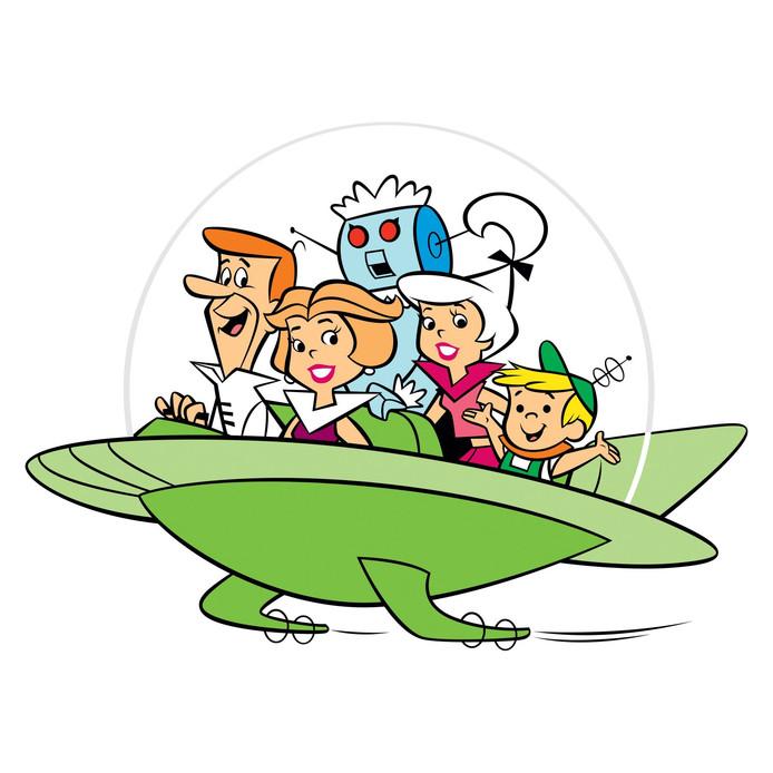 The Jetsons en hun vliegende auto in de poulaire tekenfilm uit de jaren '60