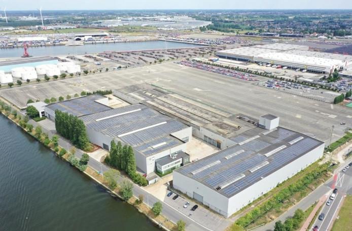 Impressie van het bedrijvenpark dat Hexagon wil ontwikkelen op het vroegere fabrieksterrein van Balmatt in Gent.