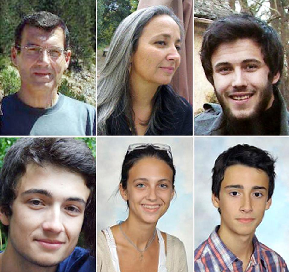 De droite à gauche en partant du haut: Xavier Dupont de Ligonnès, sa femme Agnès, leurs enfants Arthur, Thomas, Anne, Benoit.