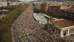 Algemene staking in Catalonië zorgt voor afgelaste vluchten en geblokkeerde wegen, massa volk marcheert Barcelona binnen