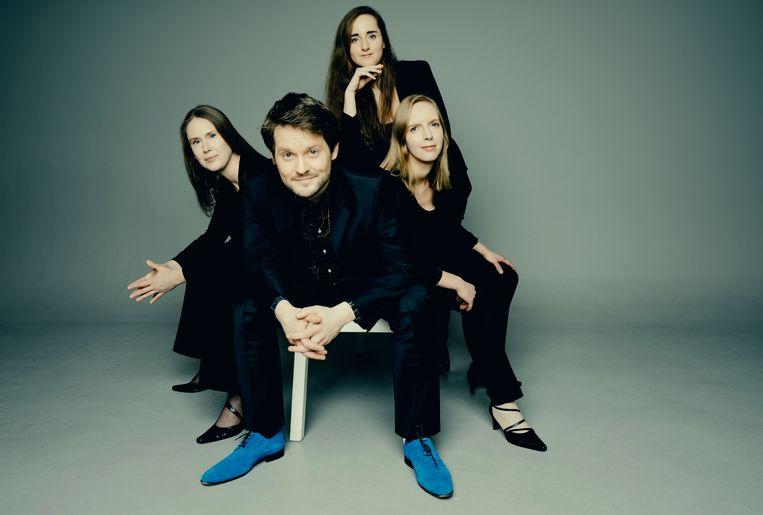 Het Dudok Kwartet, met vanaf links: Marleen Wester, David Faber, Marie-Louise de Jong en Judith van Driel. Beeld Marco Borggreve
