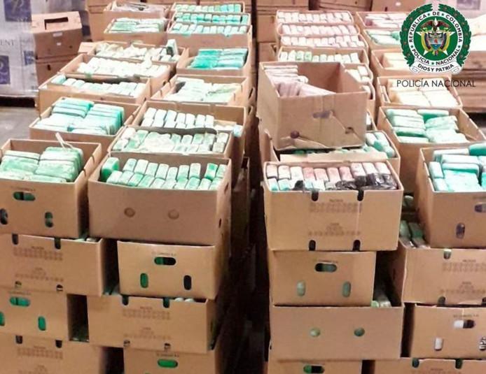 Een deel van de 7,5 ton cocaïne uit Colombia die vorige week in beslag werd genomen in Oosterhout en in de haven van Antwerpen.