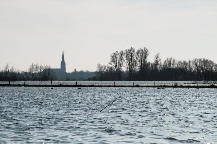 Doesburg, met hoog water.