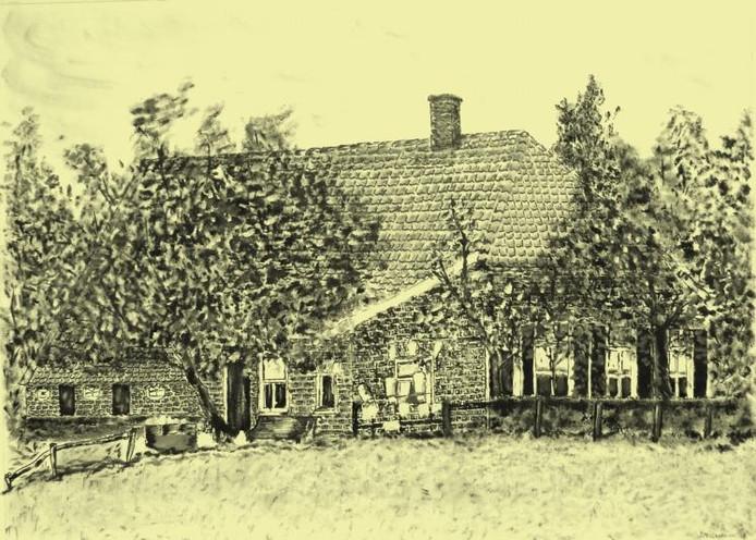 Erve Peppelenbosch in Lochuizen kan het 'stamslot' worden genoemd van de familie Reinderink/Reinders tekening Herman Reinderink