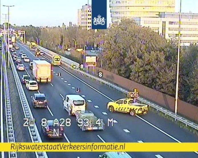 Ongeluk op de A28 bij Zwolle.