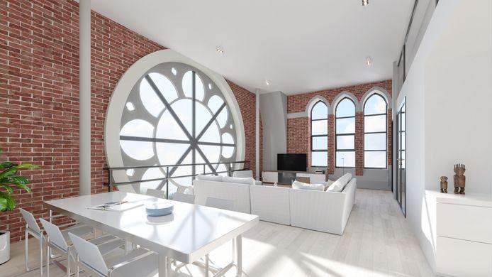 BREDA - Artist impression van een appartement in de Heilig Hartkerk van Breda.
