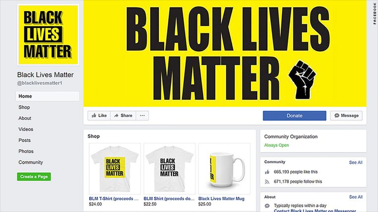 De valse Black Lives Matter-Facebookpagina.