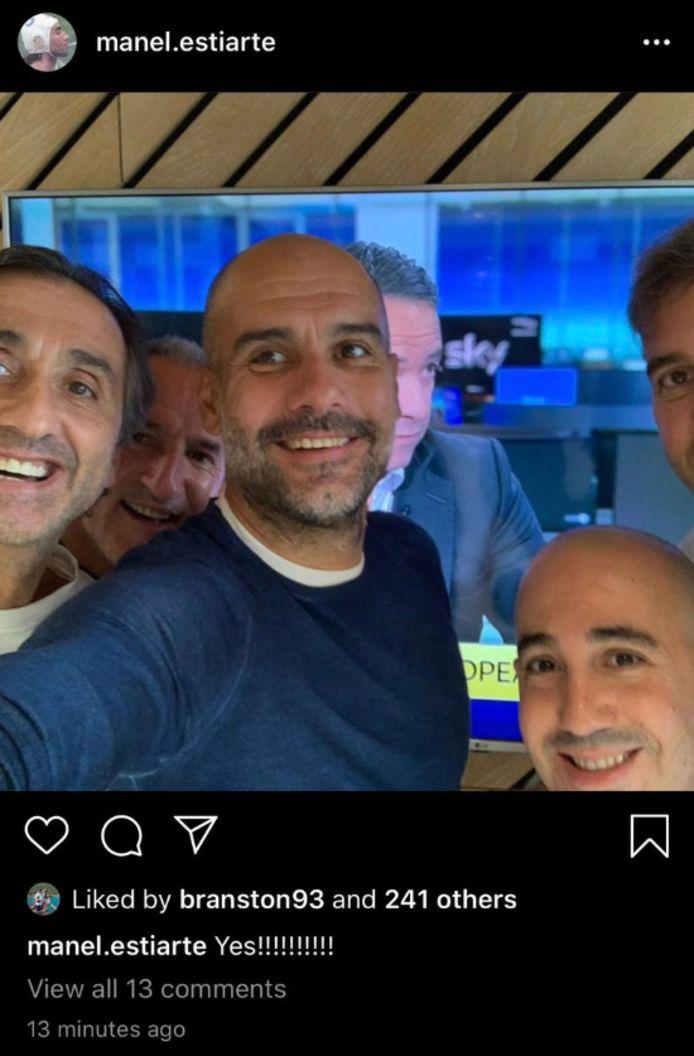 Een assistent van Guardiola plaatste een selfie op Instagram na het nieuws.