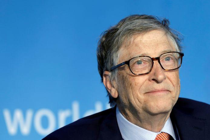 Archiefbeeld. Bill Gates tijdens een paneldiscussie van het Internationaal Monetair Fonds en de Wereldbank in Washington DC. (21/04/2018)