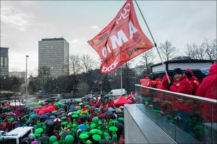 Een betoging van federale ambtenaren in 2013. Archieffoto.