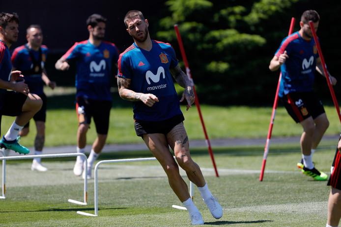 De Spaanse spelers op de training in Krasnodar.