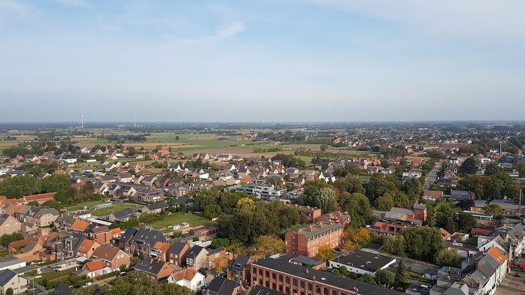 Een luchtbeeld van Hoogstraten gezien vanop de kerktoren van  de Sint-Katharinakerk.