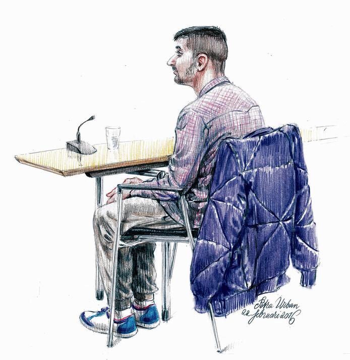 Verdachte in de zaak van oma Toni, Vino H., voor de Amsterdamse rechtbank.