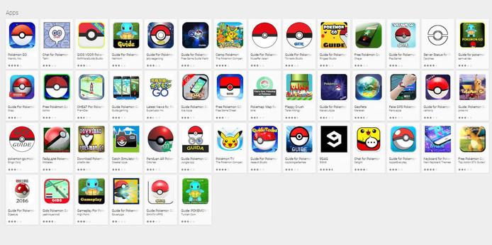 De apps die je in de Google Play Store te zien krijgt als je zoekt op Pokémon Go. De meeste apps zijn guides en add-ons.