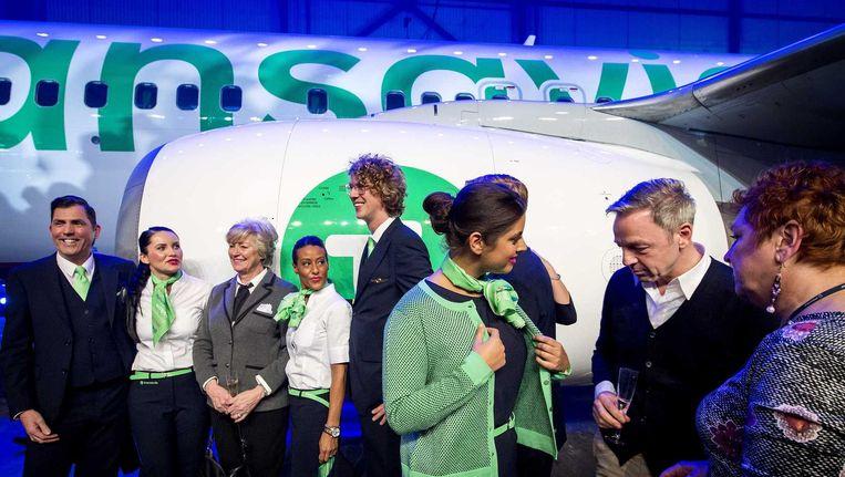 Transavia, dat begin dit jaar een nieuwe huisstijl presenteerde, opent een nieuwe basis in München, de eerste buitenlandse basis in vier jaar. Beeld anp
