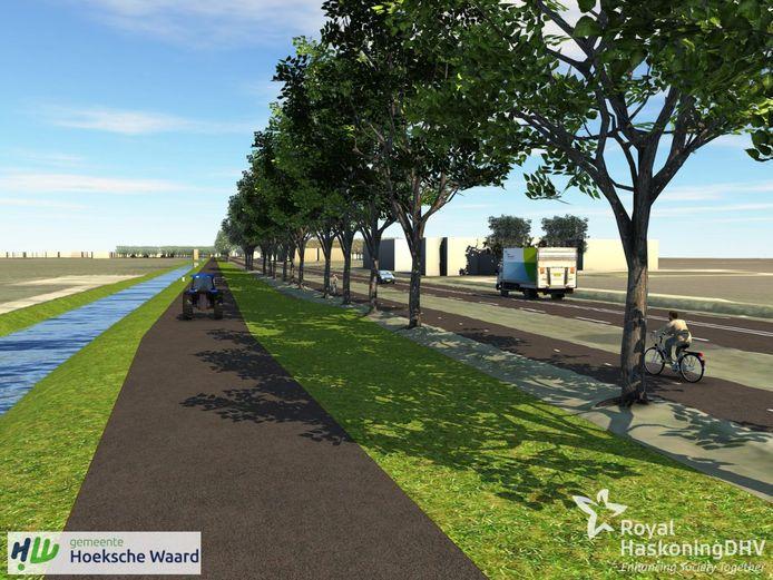 Een andere variant is een parallelweg met het fietspad naast de N217.