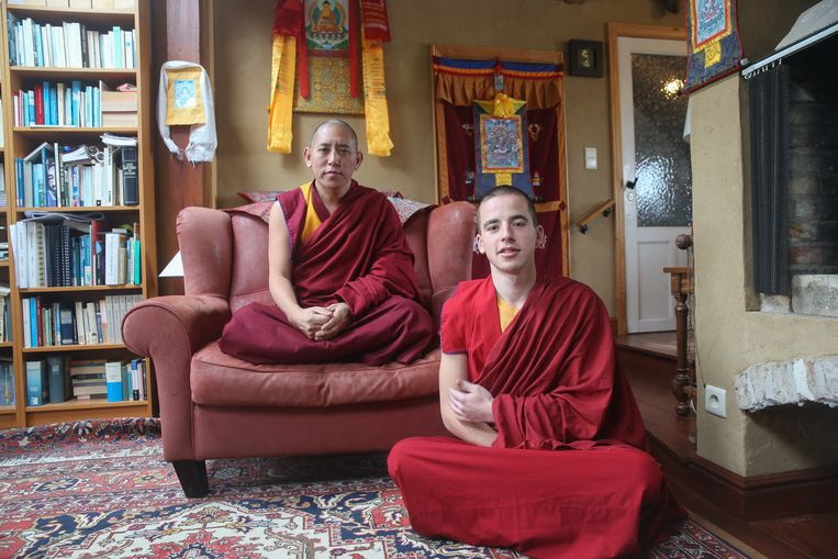 Monnik Giel samen met Gebshe Lobsang Tsultrim.