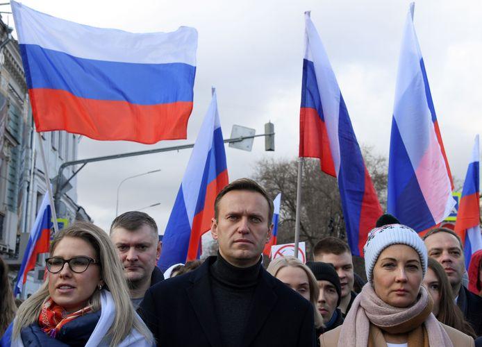 Archiefbeeld. Lyubov Sobol (links)hier zij aan zij met de Russische oppositieleider Aleksej Navalny.
