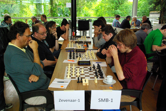 V.l.n.r. Guust Homs (groene shirt), Thomas Verfuerth, Arie Huysman en Thorsten Brandt